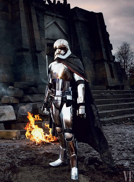 Captain Phasma (Gwendoline Christie) surveys the rubble following an attack.