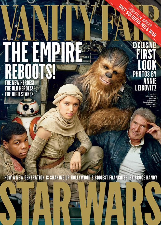 John Boyega. BB-8, Daisy Ridley, Chewbacca, Harrison Ford on the cover of June's Vanity Fair.