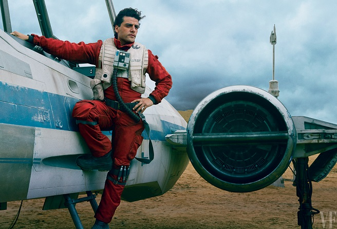 Poe Dameron (Oscar Isaac)  and his X-wing.