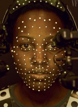 the beautiful lupita Nyong'o preforming the motion capture for the digital chracter, Maz Kanata.