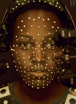the beautiful lupita Nyong'o preforming the motion capture for the digital chracter, Maz Kanata.