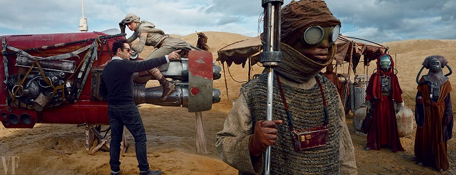 J.J. Abrams directs newcomer Daisy Ridley in a scene.
