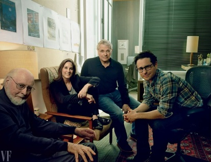 Composer John Williams, producer and Lucasfilm president Kathleen Kennedy, co-writer Lawrence Kasdan, and director and co-writer J.J. Abrams